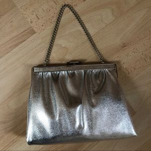 Bags - Vintage 1970s Silver Metallic Evening Bag